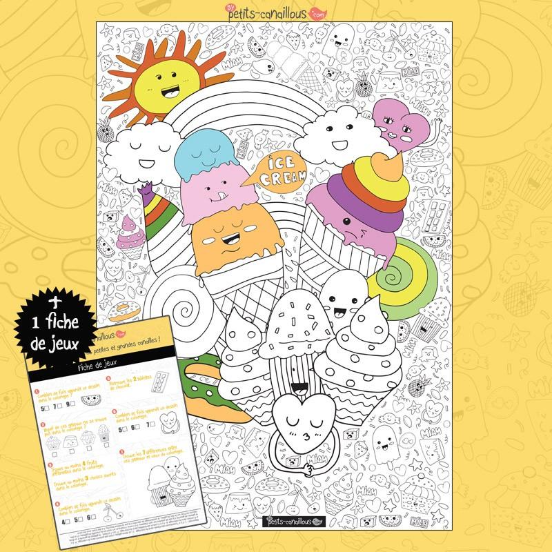 Coloriage Geant A Imprimer En Plusieurs Parties.Coloriage Geant Enfant Gourmandise Ice Cream
