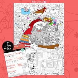 Coloriage géant enfant Père Noël