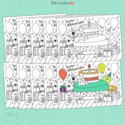 Cartes anniversaire à colorier x 10 - monstres