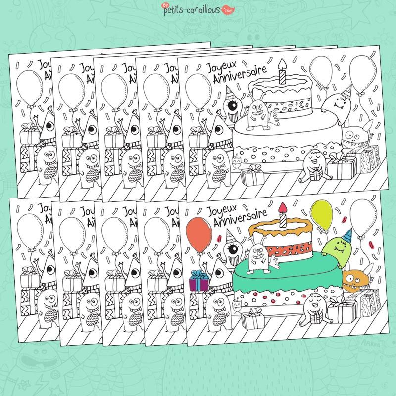Carte Anniversaire Enfant à Colorier Monstres