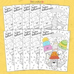 Carte anniversaire à colorier - Gourmandises X10