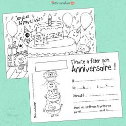 Carte anniversaire à colorier - Monstres