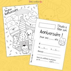 Carte anniversaire à colorier - Gourmandises