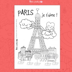 Carte à colorier - Paris je t'aime