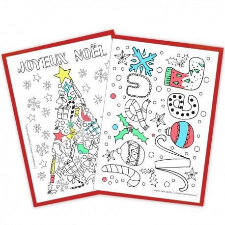 Cartes à colorier - Joyeux Noël x10
