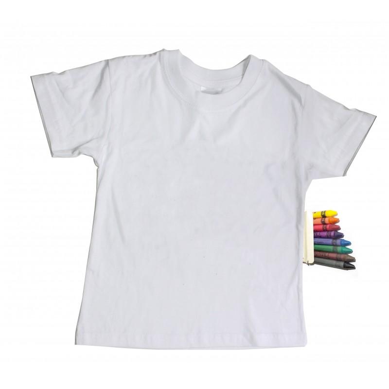 tee shirt enfant blanc d corer crayons textile. Black Bedroom Furniture Sets. Home Design Ideas