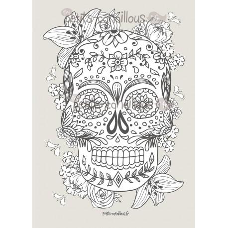 Affiche t te de mort mexicaine colorier - Tete mort mexicaine ...