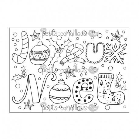 Carte à colorier - Joyeux Noël