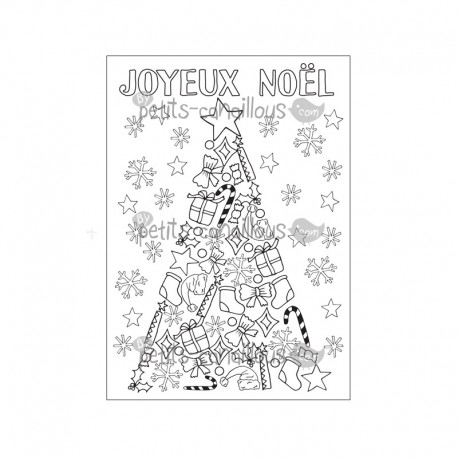 Carte sapin noel colorier christmas card - Dessin carte de noel ...