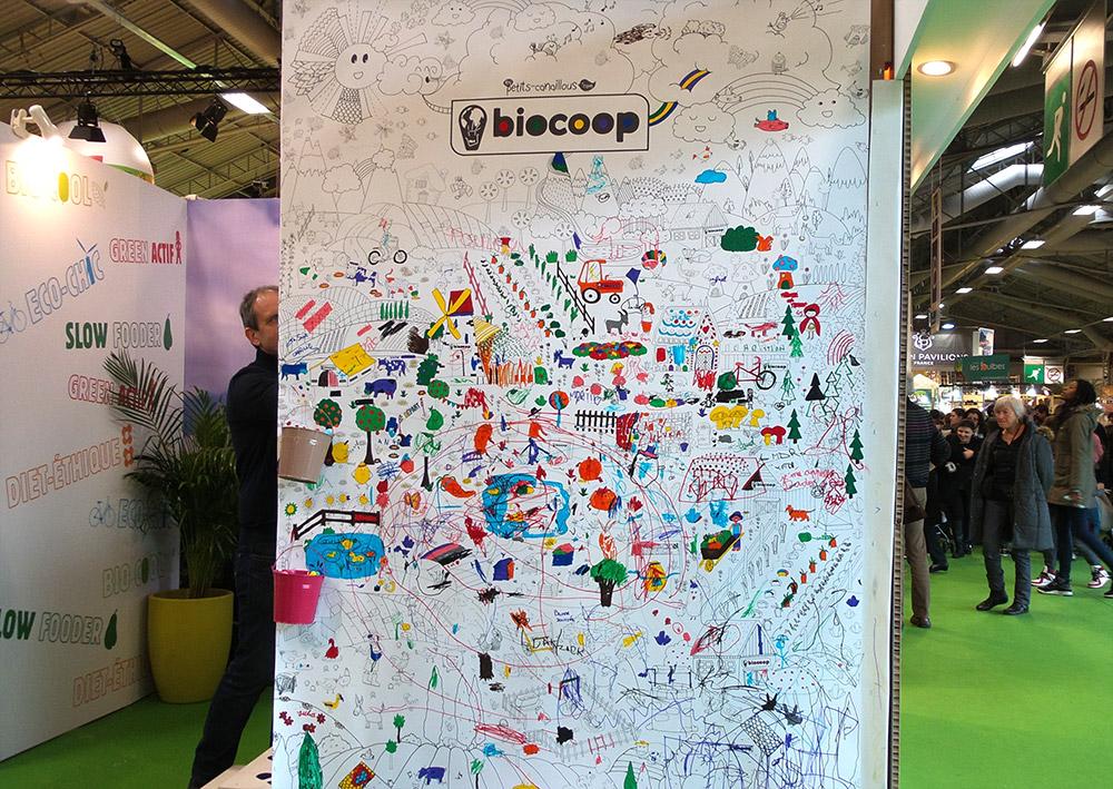 Evénement mur de coloriage géant agriculture biocoop - coloring wall